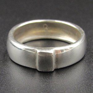 Size 7.25 Sterling Thick Raised Rectangle Ring